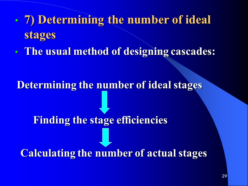 7) Determining the number of ideal stages