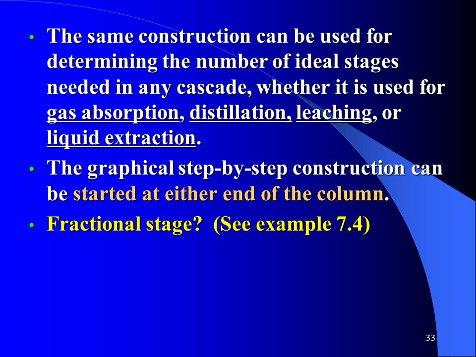 The same construction can be used for determining the number of ideal stages needed in any cascade, whether it is used for gas absorption, distillation, leaching, or liquid extraction.