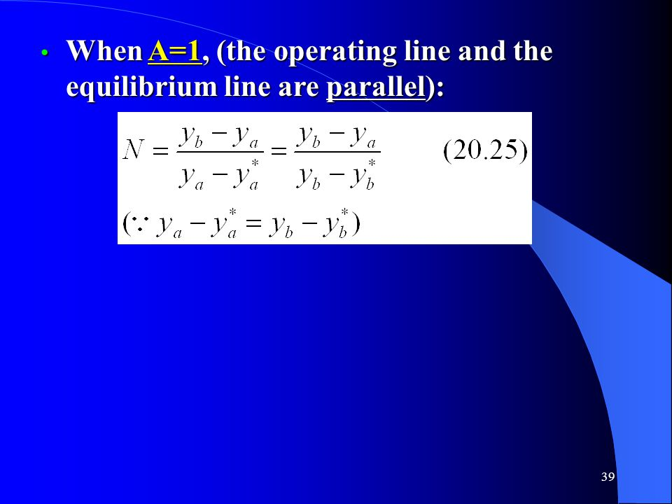 When A=1, (the operating line and the equilibrium line are parallel):