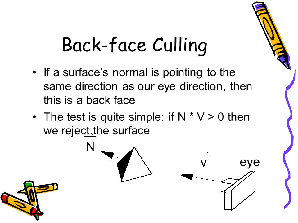 Back-face Culling If a surface's normal is pointing to the same direction as our eye direction, then this is a back face.