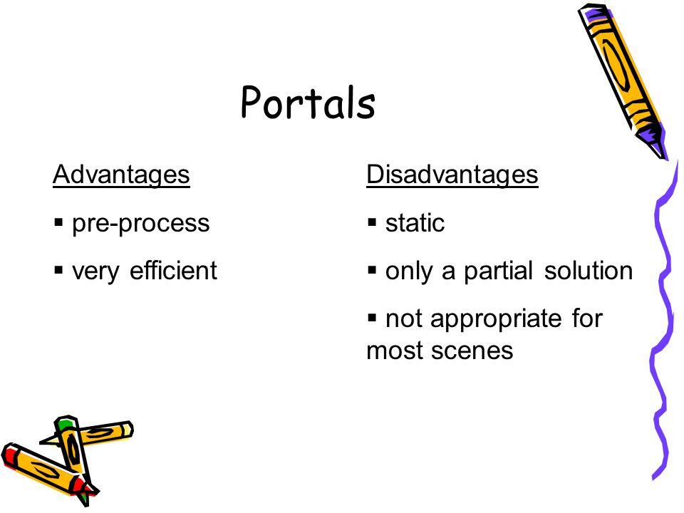 Portals Advantages pre-process very efficient Disadvantages static