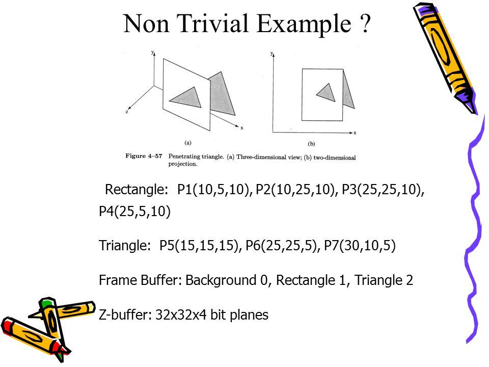 Non Trivial Example Rectangle: P1(10,5,10), P2(10,25,10), P3(25,25,10), P4(25,5,10) Triangle: P5(15,15,15), P6(25,25,5), P7(30,10,5)