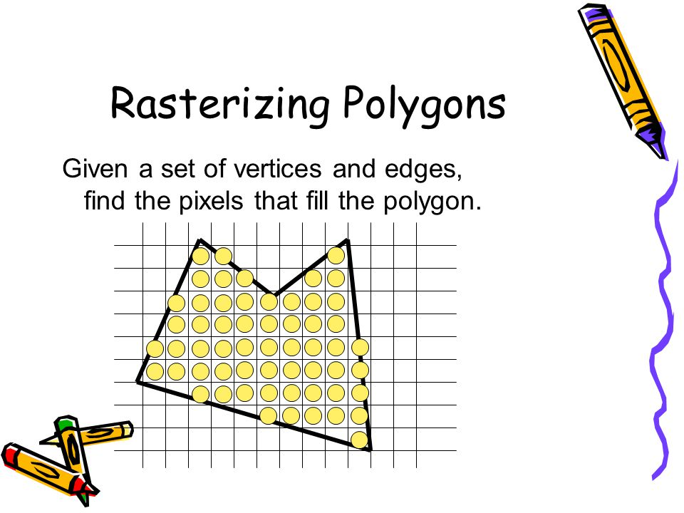Rasterizing Polygons Given a set of vertices and edges,