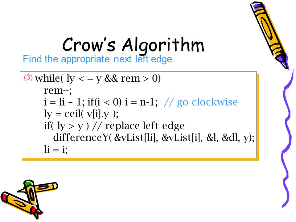 Crow's Algorithm Find the appropriate next left edge