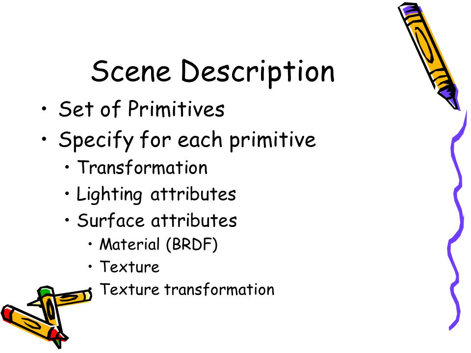 Scene Description Set of Primitives Specify for each primitive