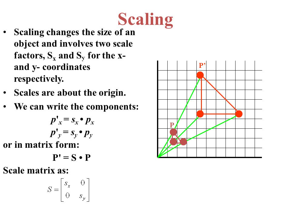 Scaling Scaling changes the size of an object and involves two scale factors, Sx and Sy for the x- and y- coordinates respectively.