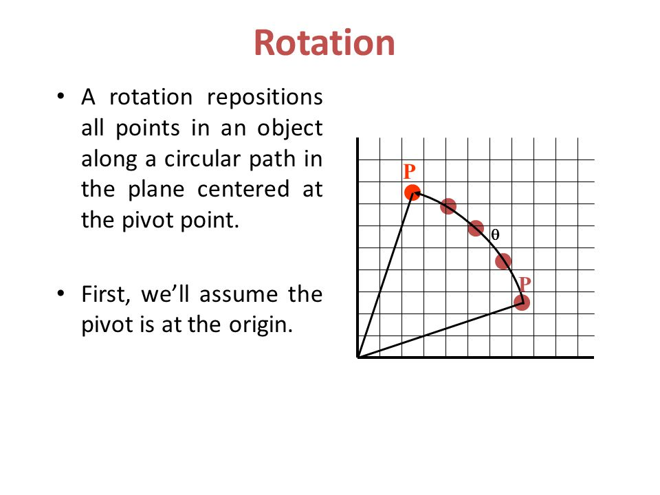 Rotation A rotation repositions all points in an object along a circular path in the plane centered at the pivot point.