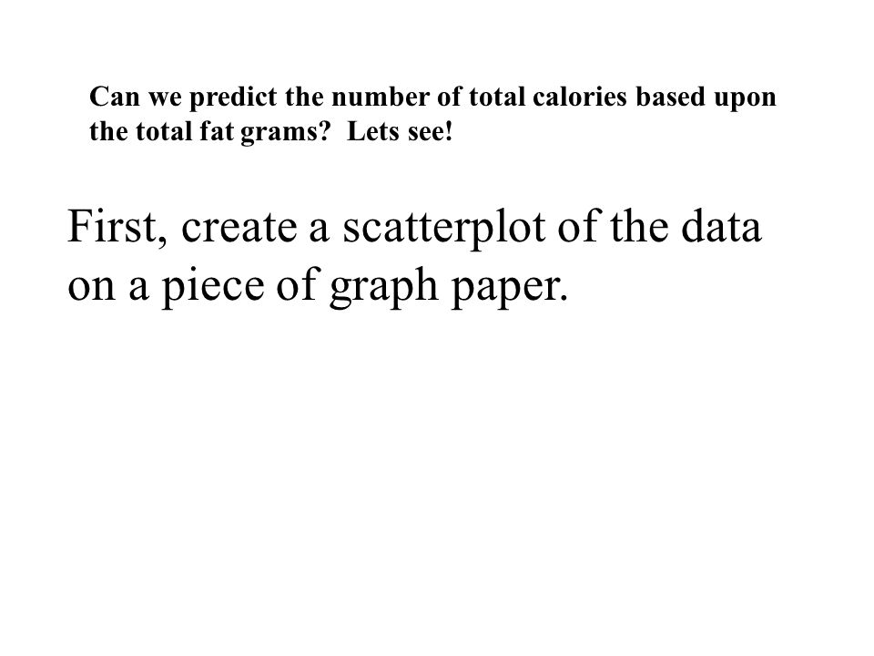 First, create a scatterplot of the data on a piece of graph paper.