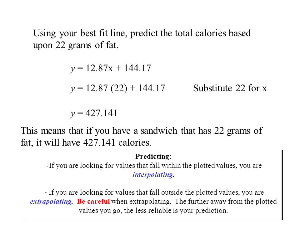 Using your best fit line, predict the total calories based upon 22 grams of fat.