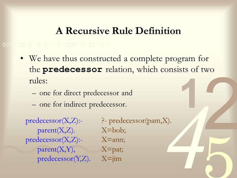 A Recursive Rule Definition