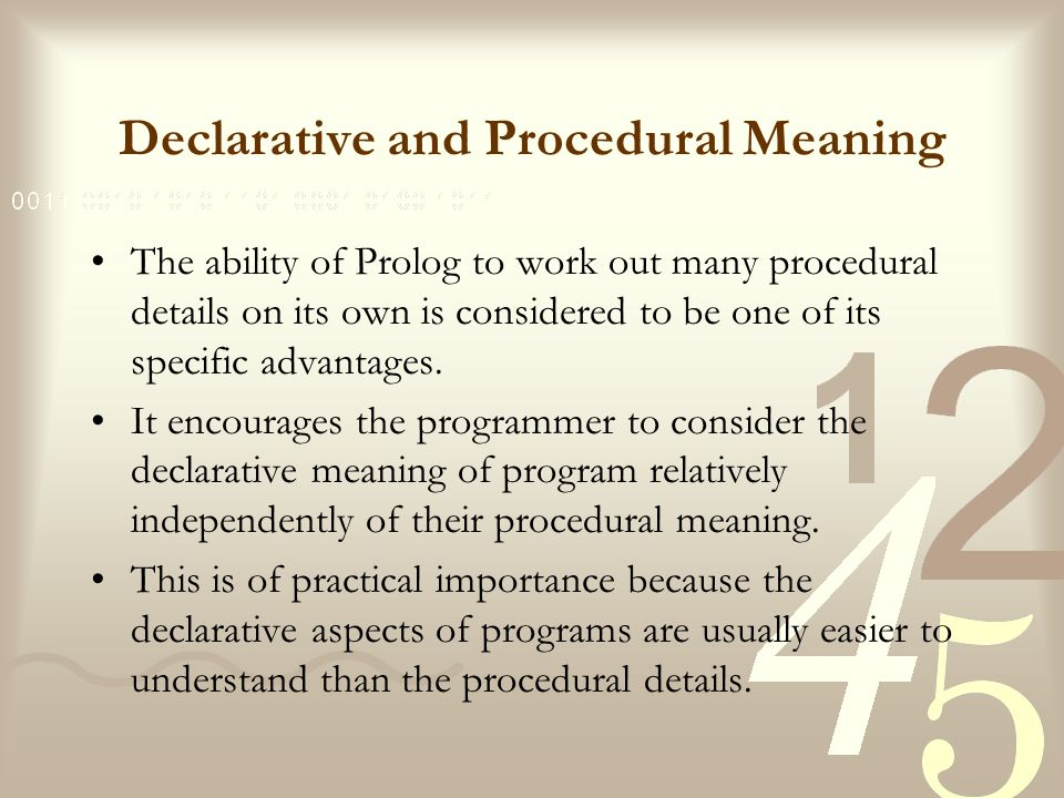 Declarative and Procedural Meaning