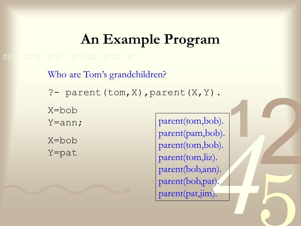 An Example Program Who are Tom's grandchildren