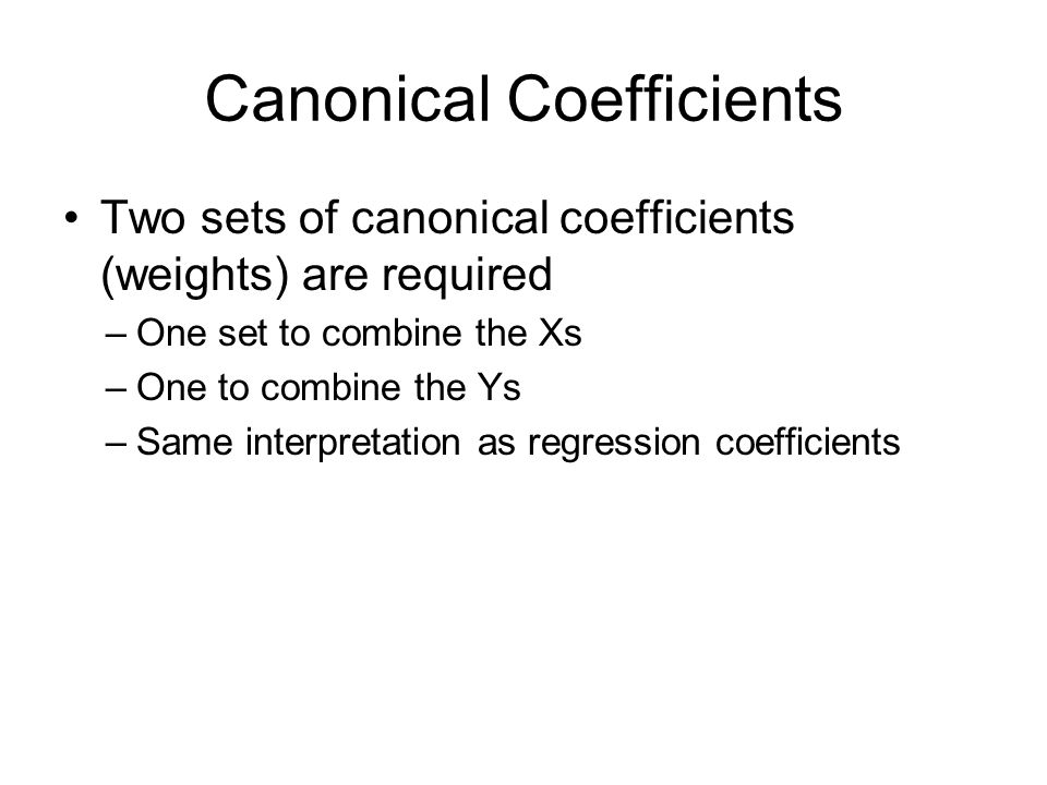 Canonical Coefficients