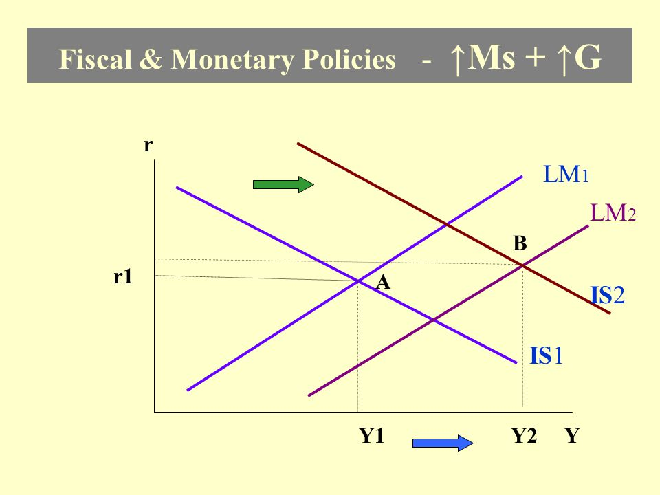 Fiscal & Monetary Policies - ↑Ms + ↑G