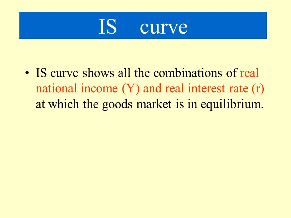 IS curve IS curve shows all the combinations of real national income (Y) and real interest rate (r) at which the goods market is in equilibrium.