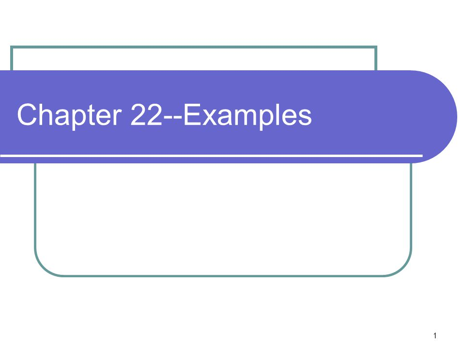 Chapter 22--Examples