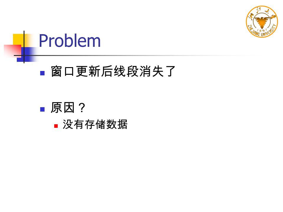 Problem 窗口更新后线段消失了 原因? 没有存储数据