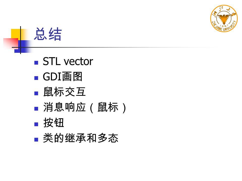 总结 STL vector GDI画图 鼠标交互 消息响应(鼠标) 按钮 类的继承和多态