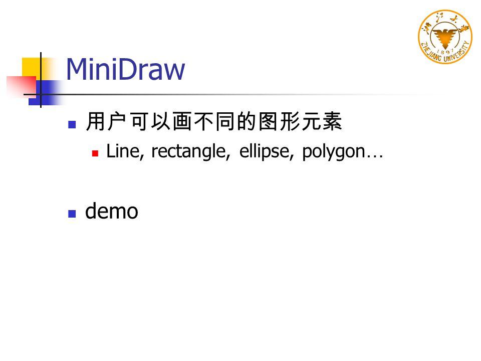 MiniDraw 用户可以画不同的图形元素 Line, rectangle, ellipse, polygon… demo