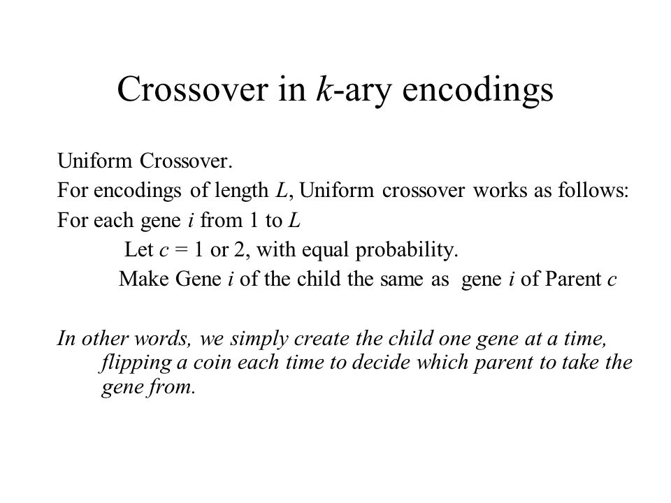 Crossover in k-ary encodings