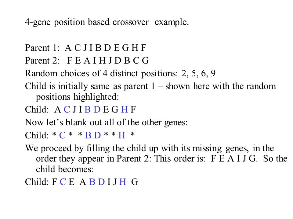 4-gene position based crossover example.