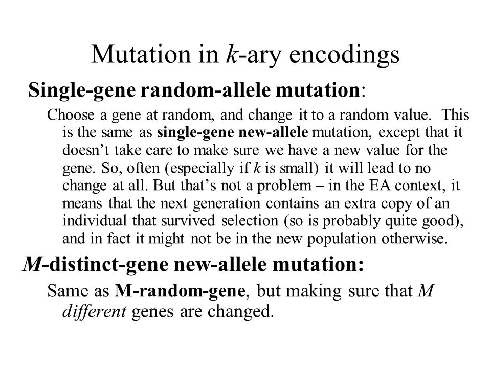 Mutation in k-ary encodings