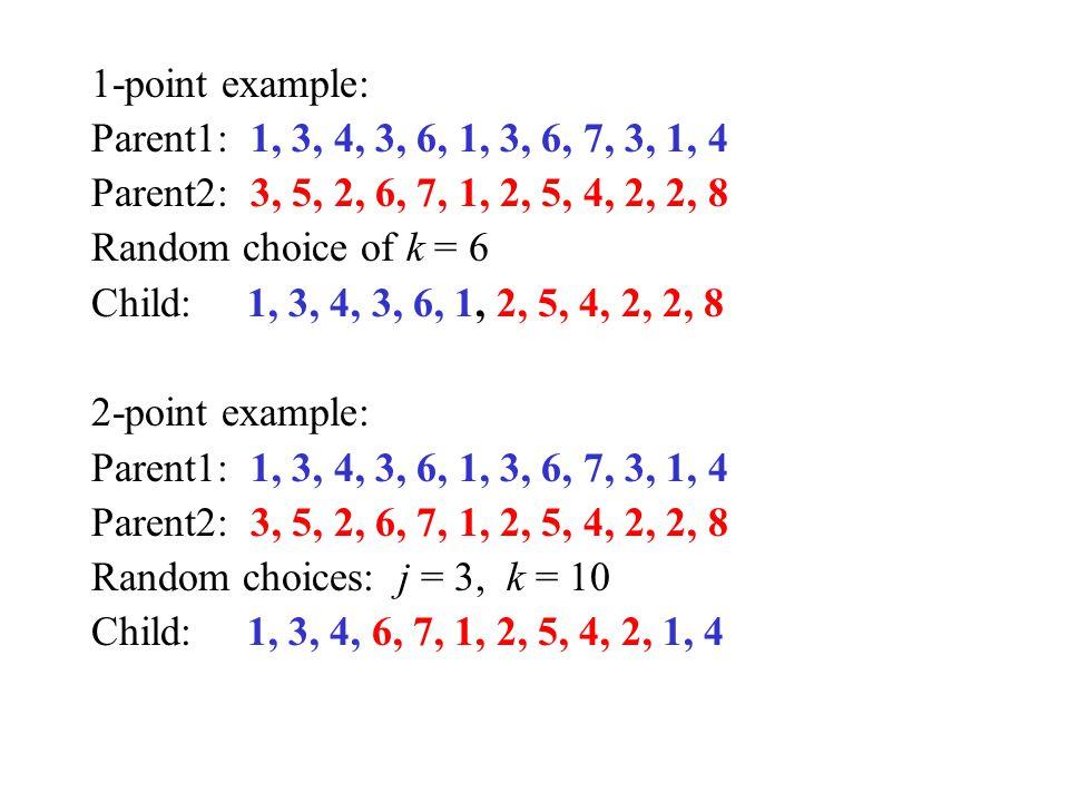 1-point example: Parent1: 1, 3, 4, 3, 6, 1, 3, 6, 7, 3, 1, 4. Parent2: 3, 5, 2, 6, 7, 1, 2, 5, 4, 2, 2, 8.