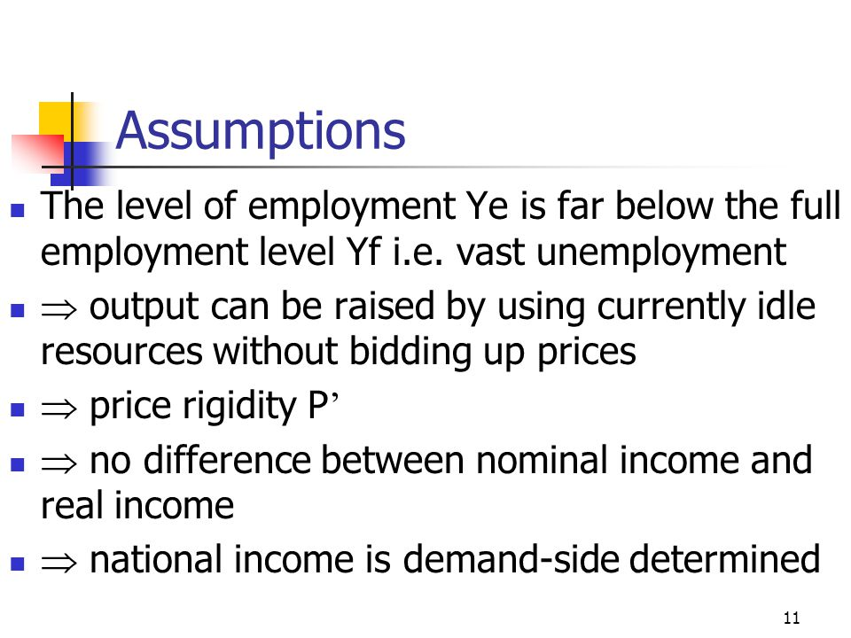Assumptions The level of employment Ye is far below the full employment level Yf i.e. vast unemployment.