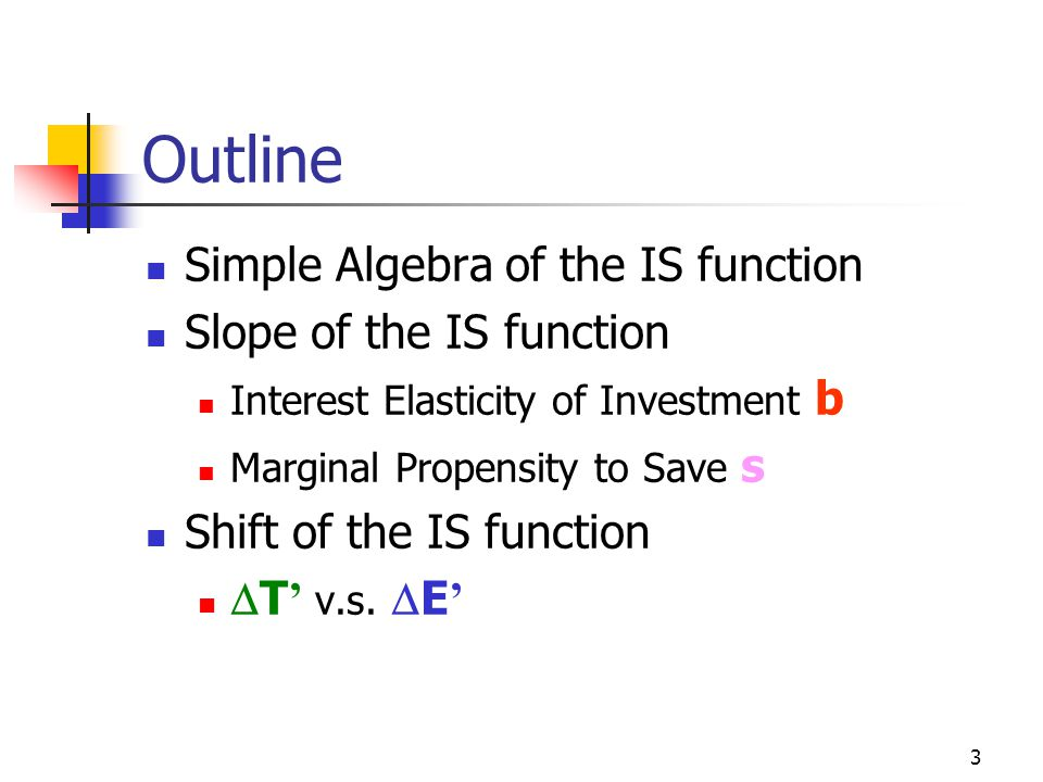 Outline Simple Algebra of the IS function Slope of the IS function
