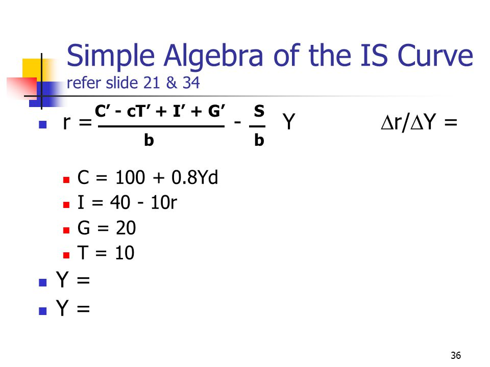 Simple Algebra of the IS Curve refer slide 21 & 34