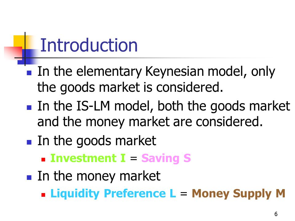 Introduction In the elementary Keynesian model, only the goods market is considered.