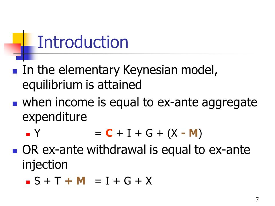 Introduction In the elementary Keynesian model, equilibrium is attained. when income is equal to ex-ante aggregate expenditure.