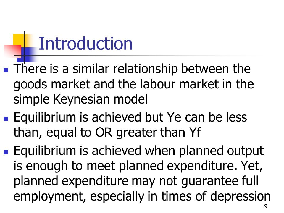 Introduction There is a similar relationship between the goods market and the labour market in the simple Keynesian model.