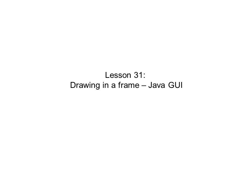 Drawing in a frame – Java GUI