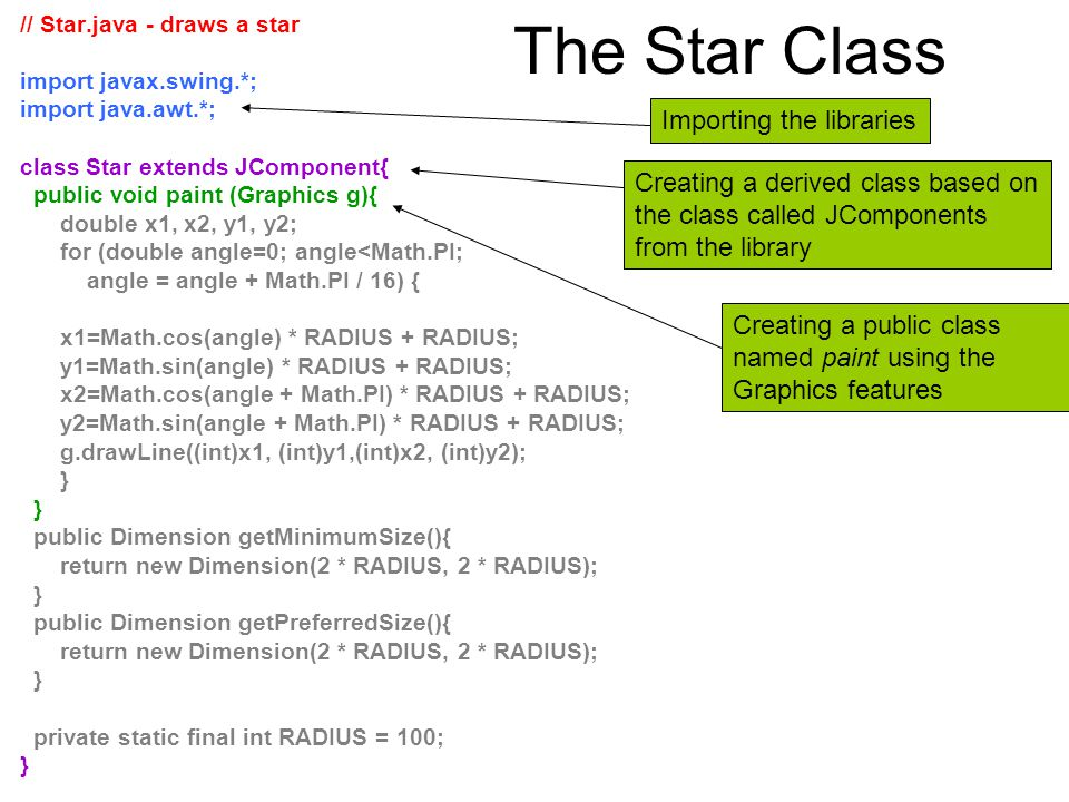 The Star Class Importing the libraries