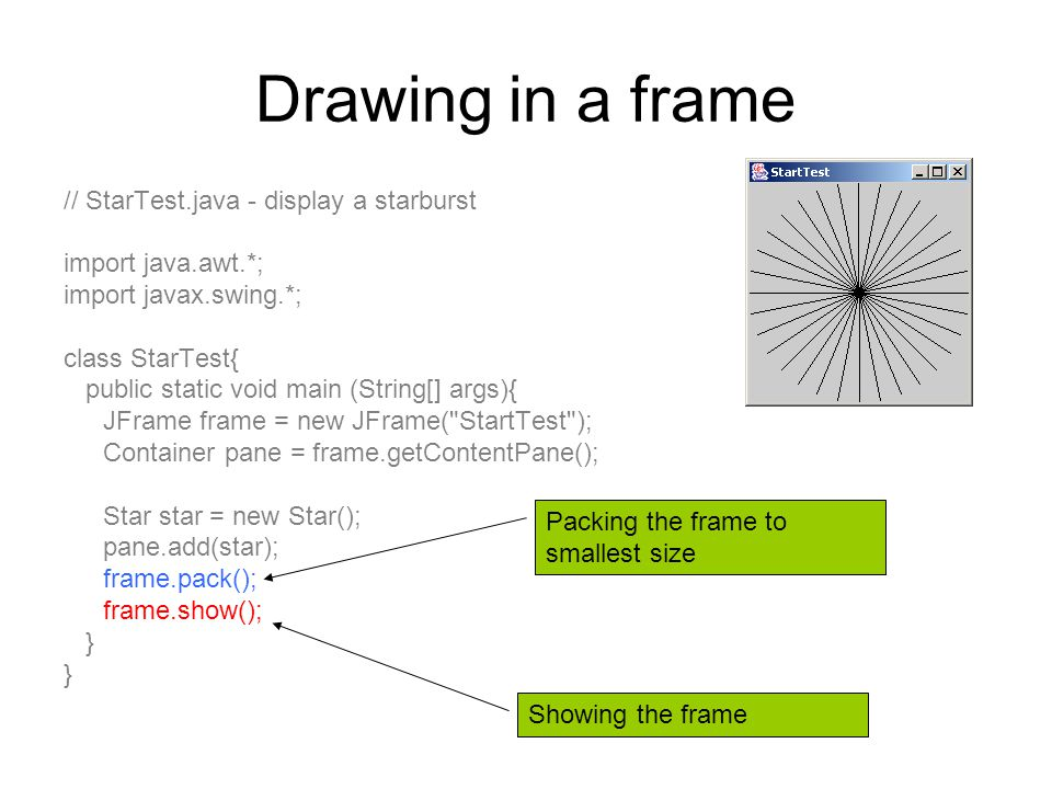Drawing in a frame // StarTest.java - display a starburst