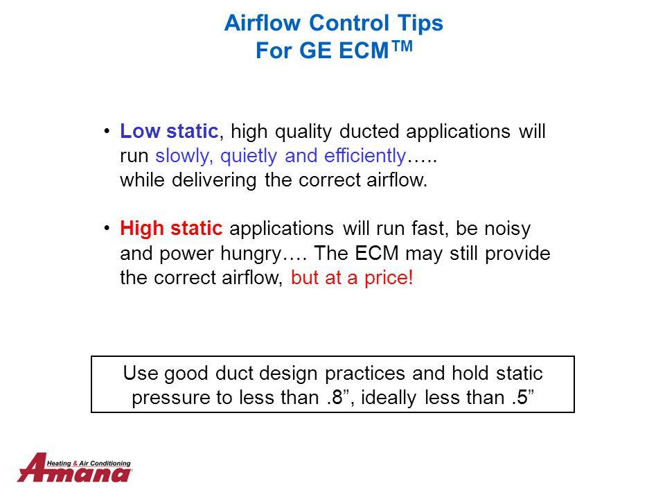 Airflow Control Tips For GE ECMTM