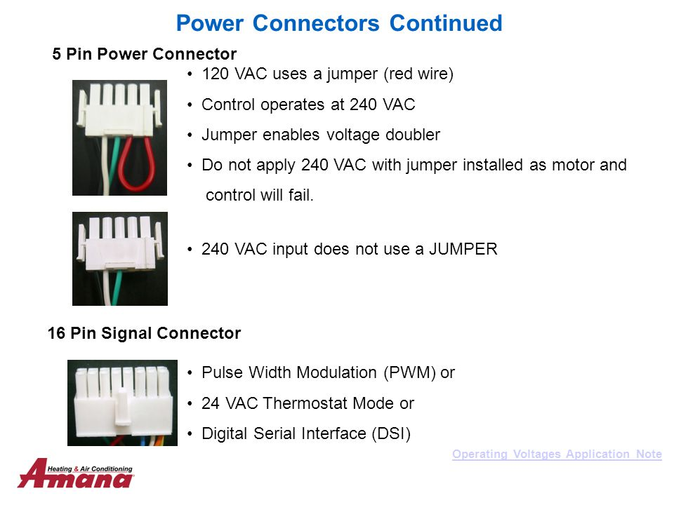 Power Connectors Continued Operating Voltages Application Note