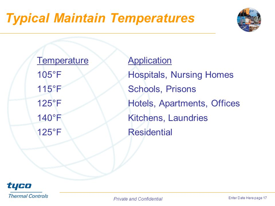 Typical Maintain Temperatures