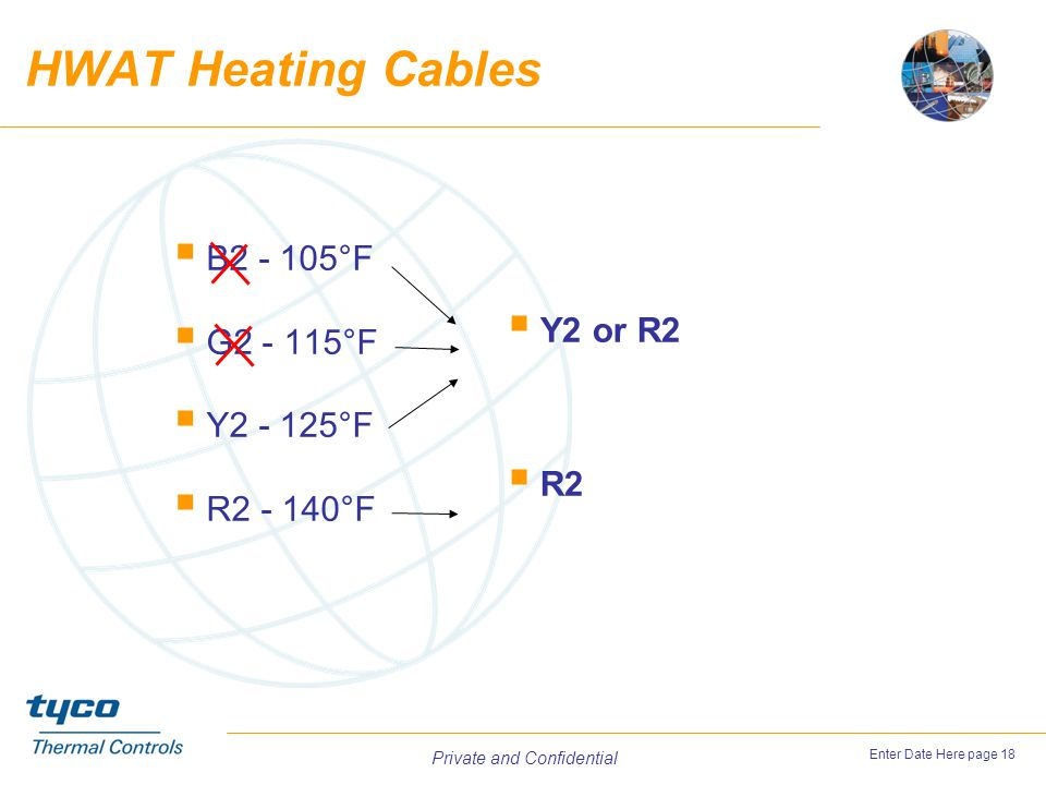 HWAT Heating Cables B2 - 105°F Y2 or R2 G2 - 115°F Y2 - 125°F R2