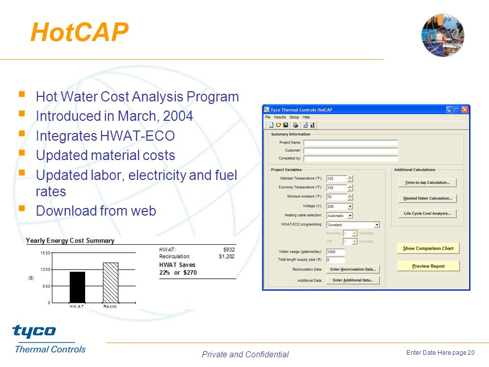 HotCAP Hot Water Cost Analysis Program Introduced in March, 2004