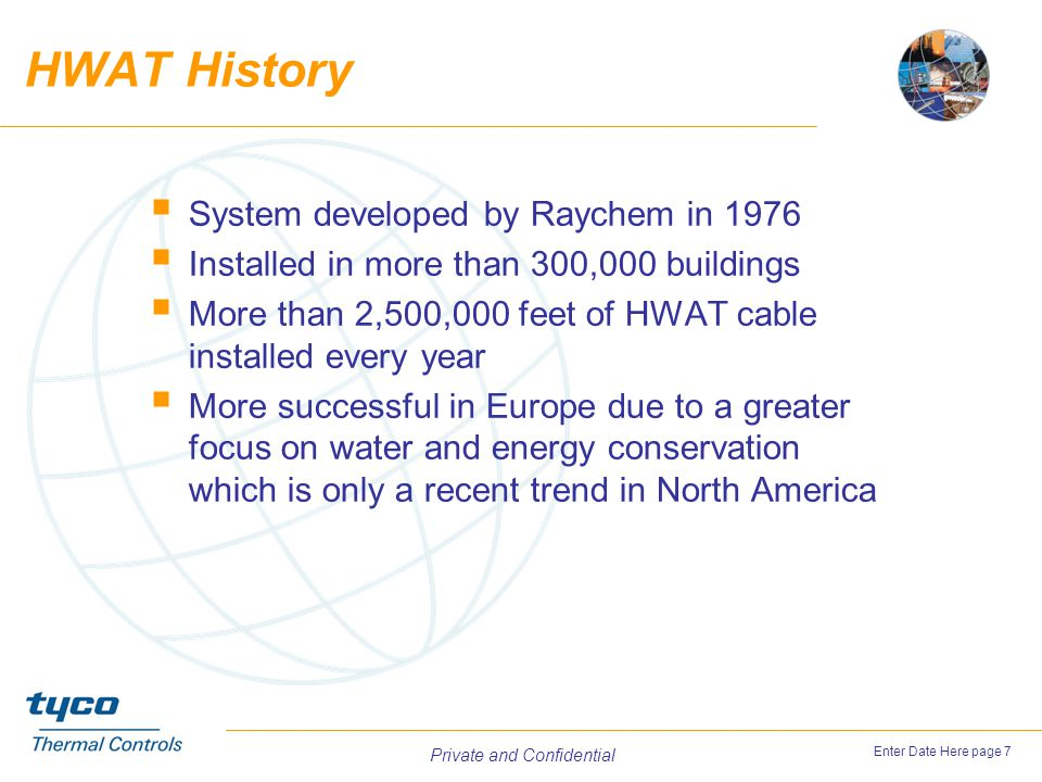 HWAT History System developed by Raychem in 1976