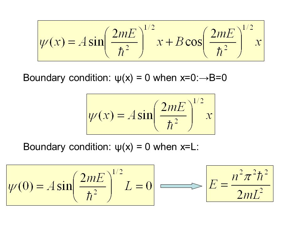 Boundary condition: ψ(x) = 0 when x=0:→B=0