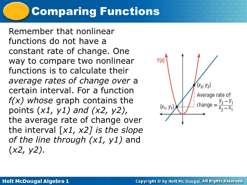 Remember that nonlinear functions do not have a constant rate of change.