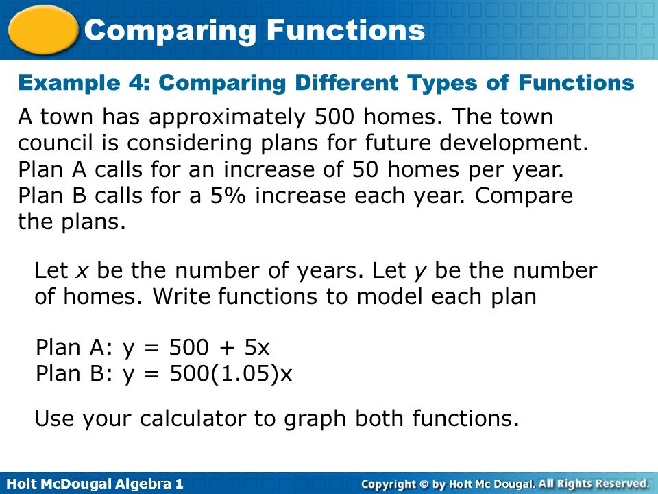 Example 4: Comparing Different Types of Functions