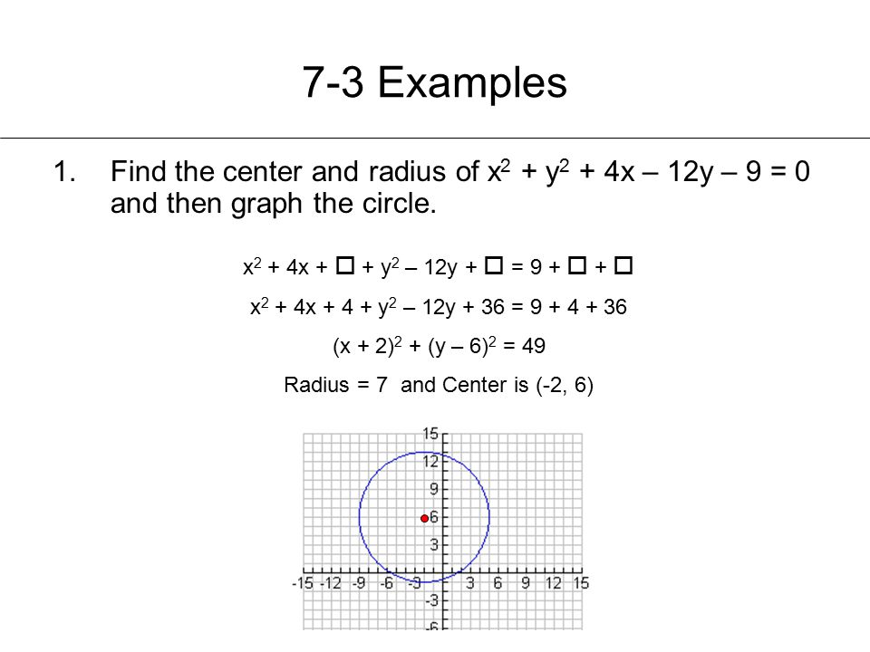 Radius = 7 and Center is (-2, 6)