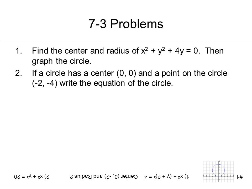 1) x2 + (y + 2)2 = 4 Center (0, -2) and Radius 2 2) x2 + y2 = 20