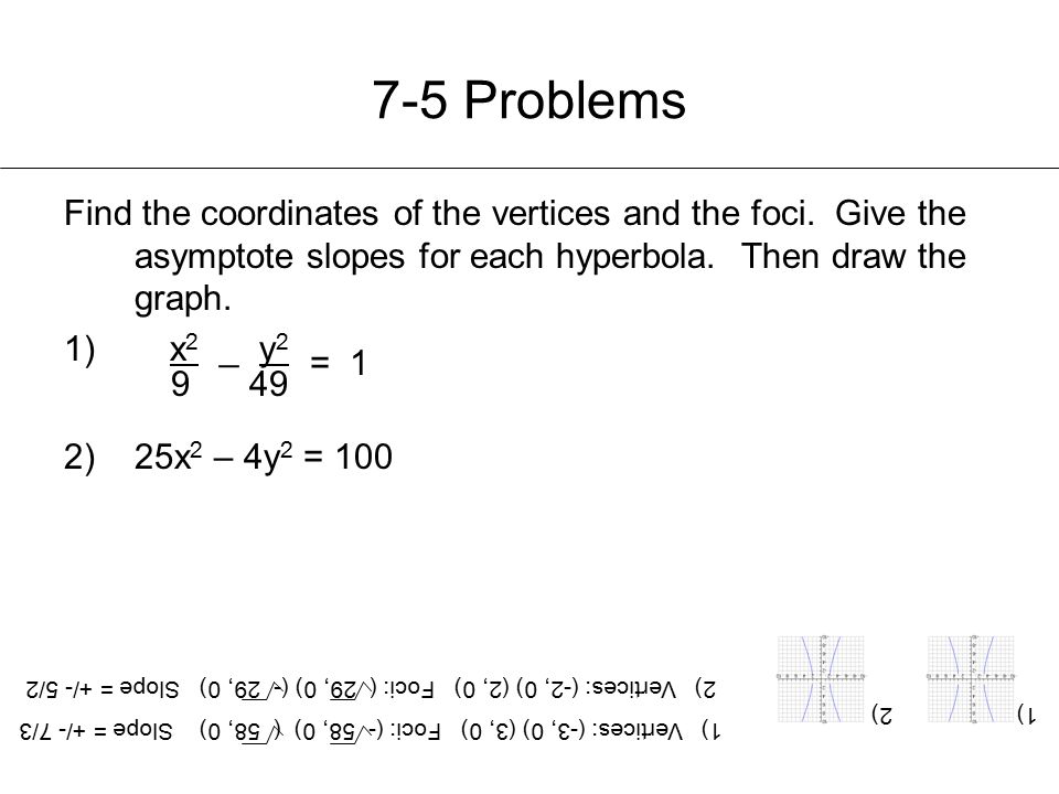 7-5 Problems Find the coordinates of the vertices and the foci. Give the asymptote slopes for each hyperbola. Then draw the graph.