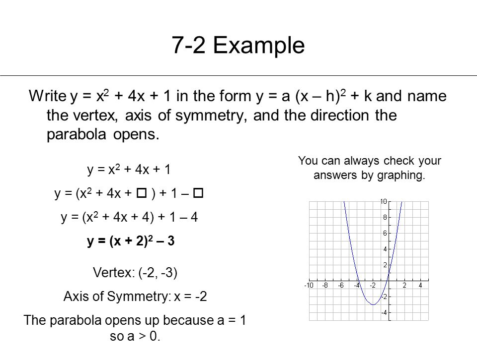 7-2 Example Write y = x2 + 4x + 1 in the form y = a (x – h)2 + k and name the vertex, axis of symmetry, and the direction the parabola opens.