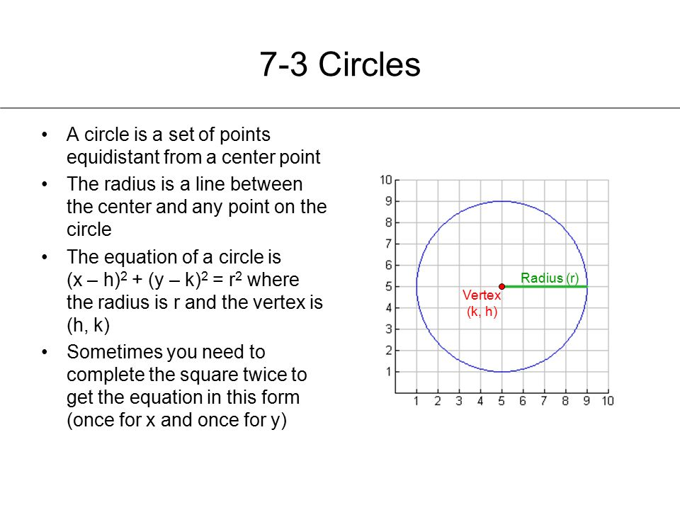 7-3 Circles A circle is a set of points equidistant from a center point. The radius is a line between the center and any point on the circle.
